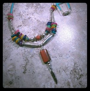 Jewelry - Bright Southwestern Beaded Necklace Feather